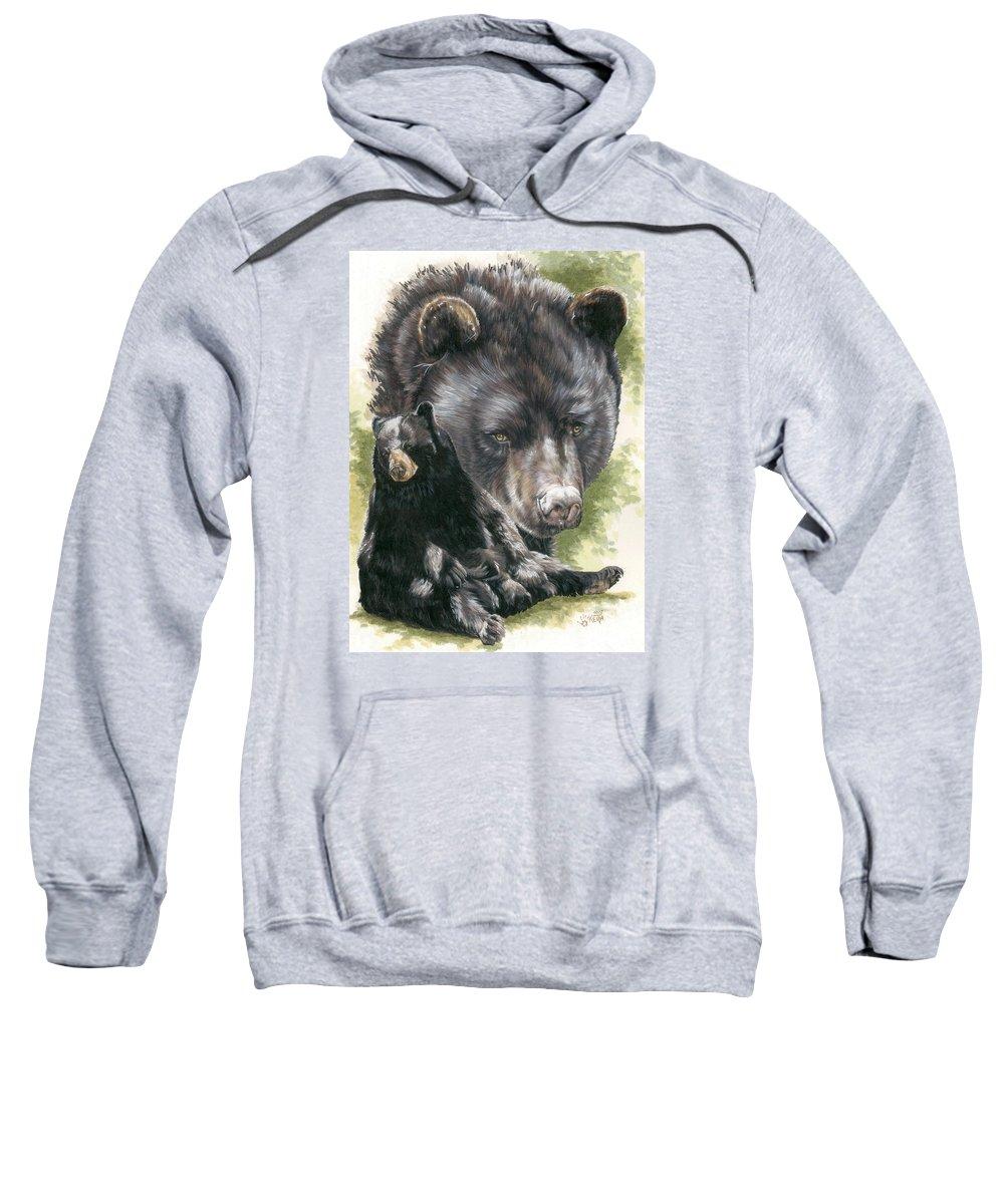 Black Bear Sweatshirt featuring the mixed media Ebony by Barbara Keith