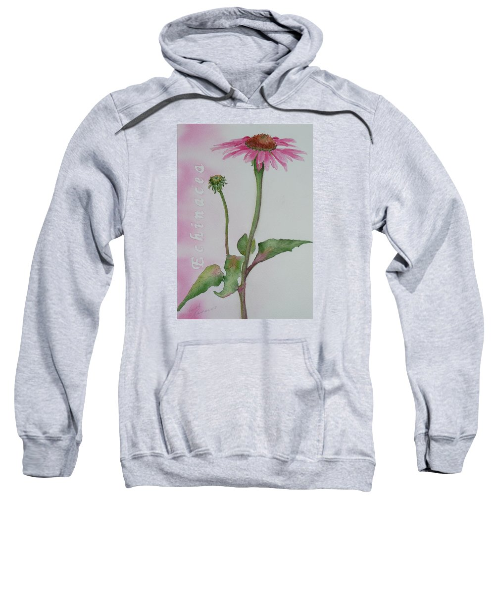 Flower Sweatshirt featuring the painting Echinacea by Ruth Kamenev