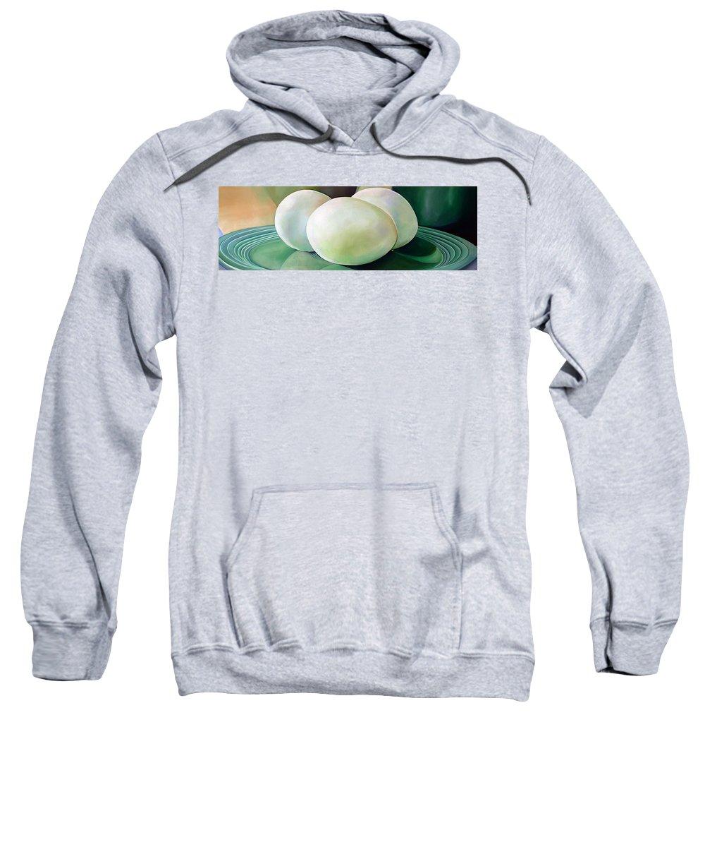 Vintage Sweatshirt featuring the painting Eggs On Fiesta Vintage Dinnerware by Toni Grote