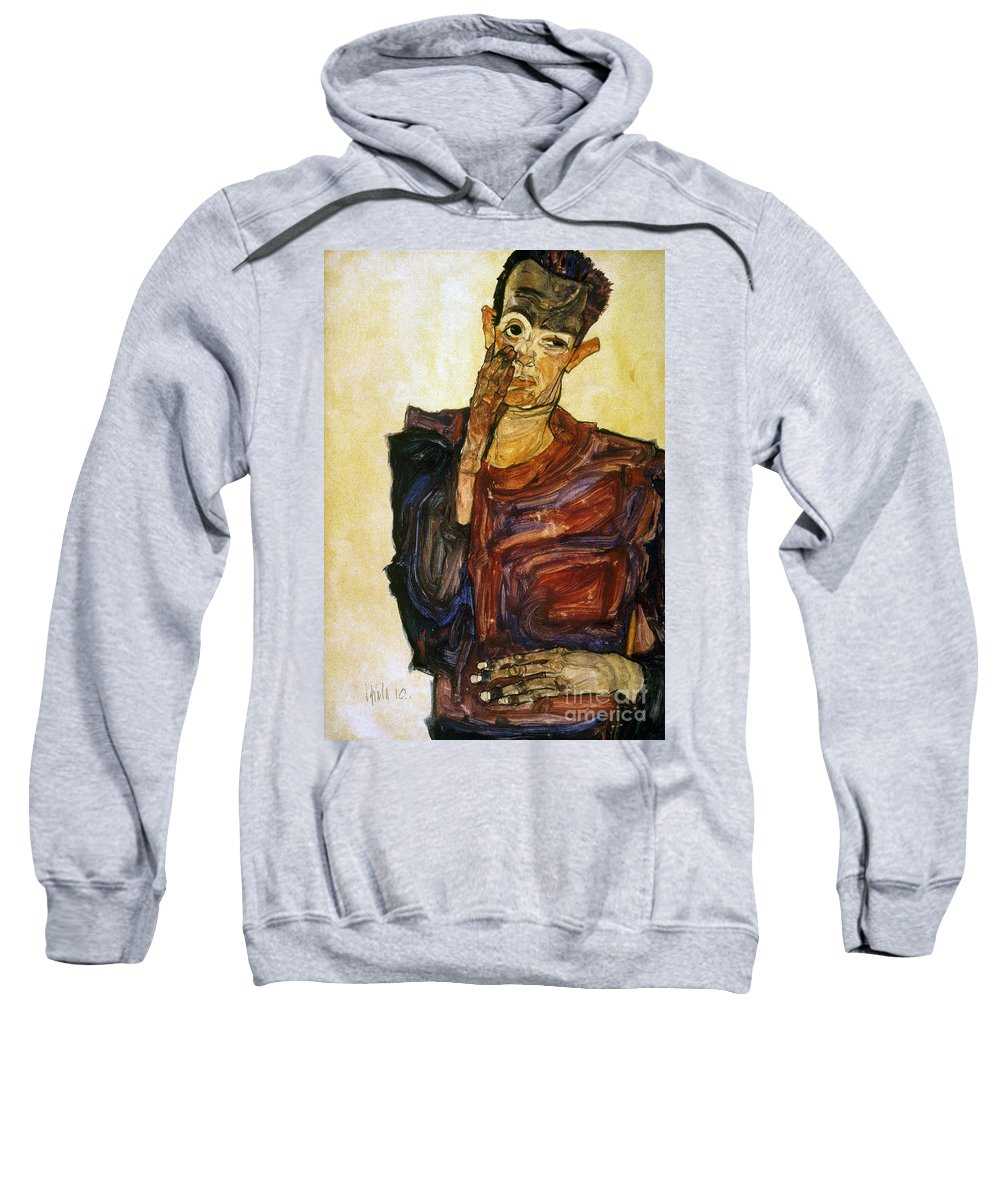 1910 Sweatshirt featuring the photograph Egon Schiele (1890-1918) by Granger