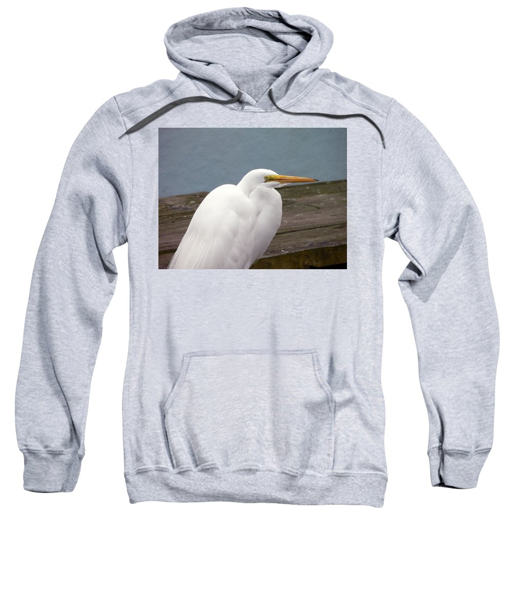 Great Egret Sweatshirt featuring the photograph Egret On The Dock by Al Powell Photography USA