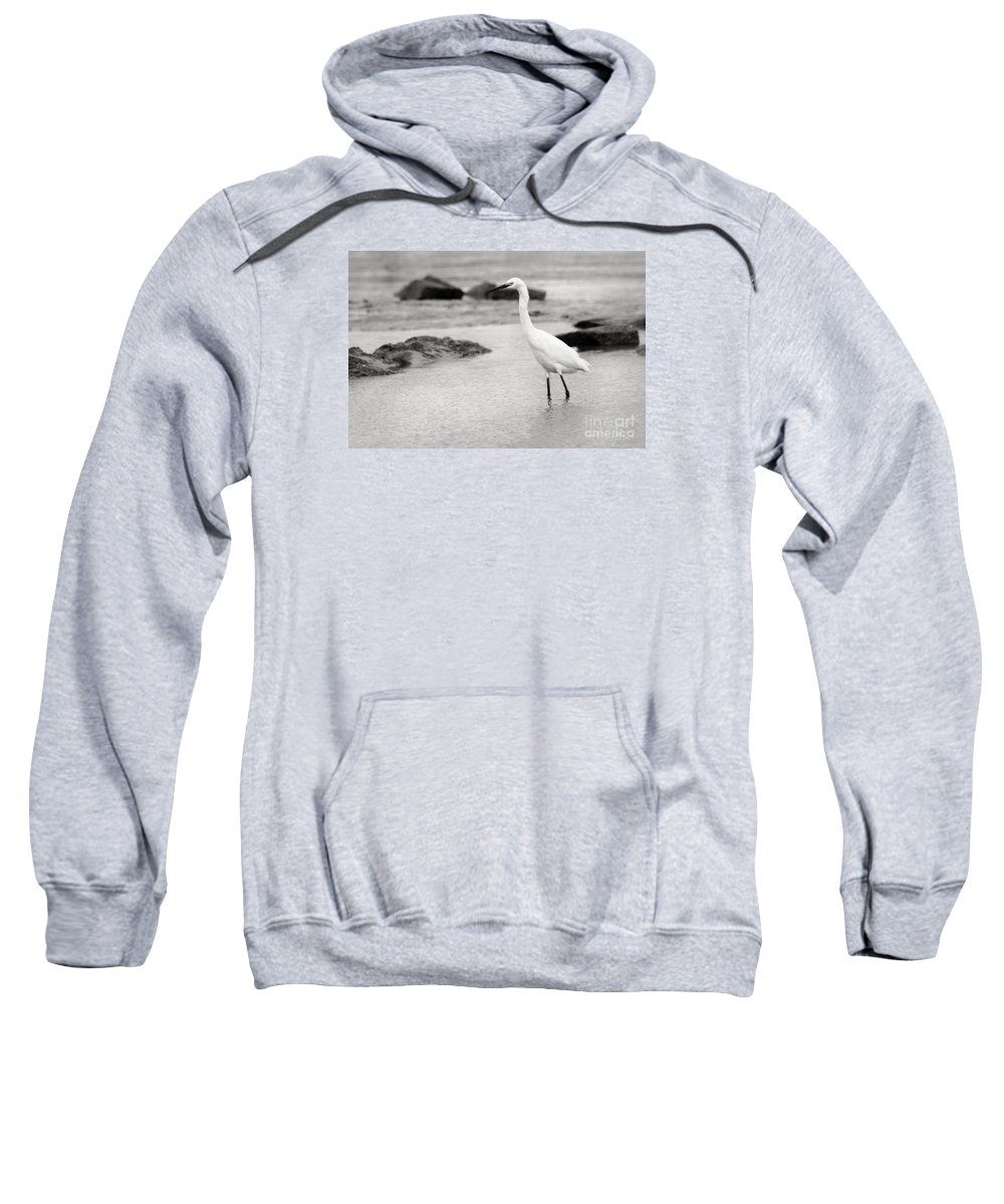 Sweatshirt featuring the photograph Egret Patrolling In Black And White by Angela Rath