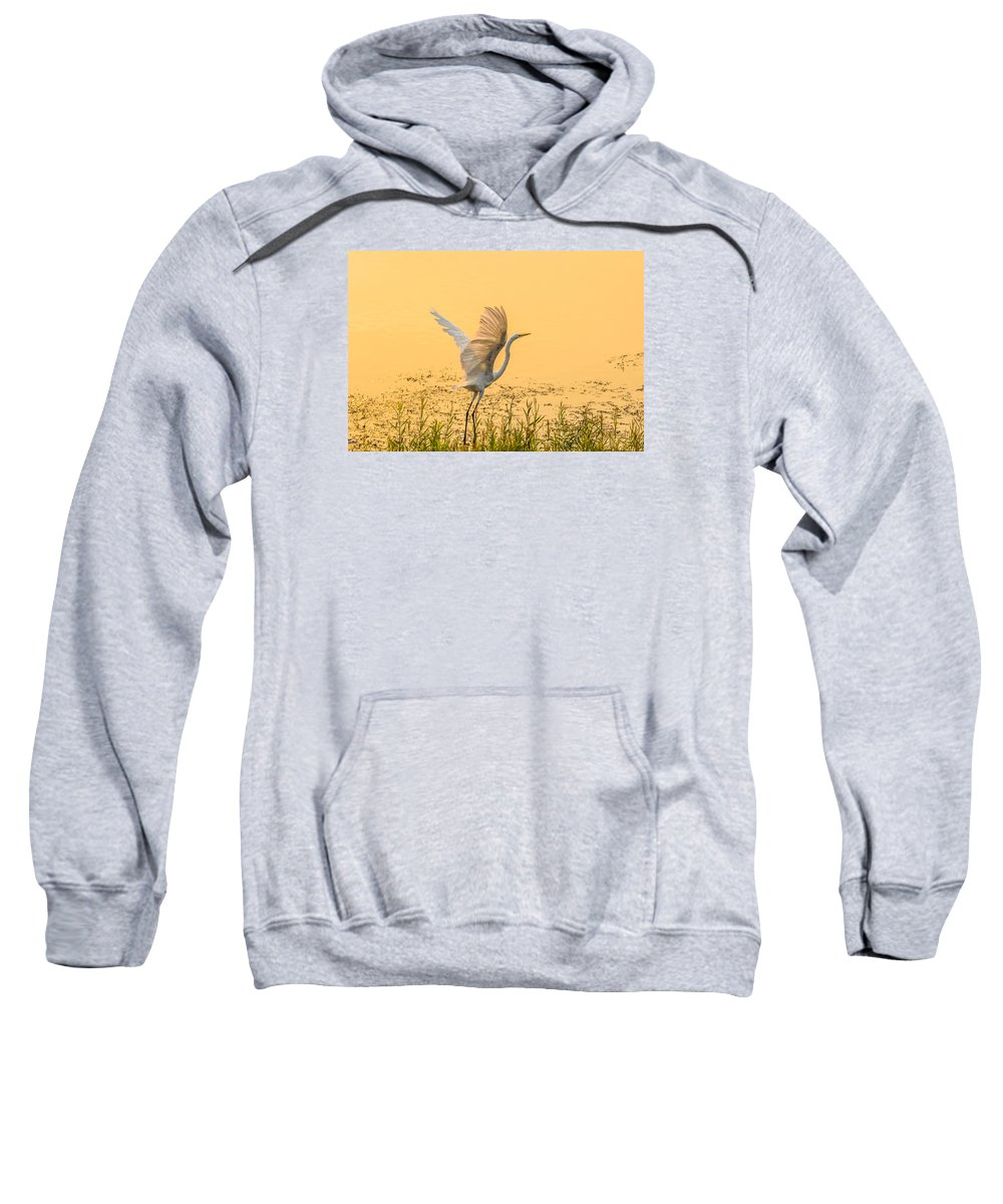 California Sweatshirt featuring the photograph Egret Take Off 1 by Marc Crumpler