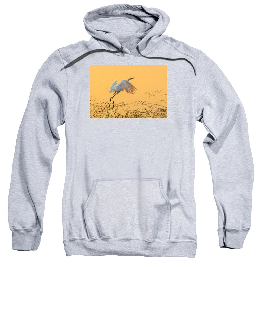 California Sweatshirt featuring the photograph Egret Take Off 3 by Marc Crumpler