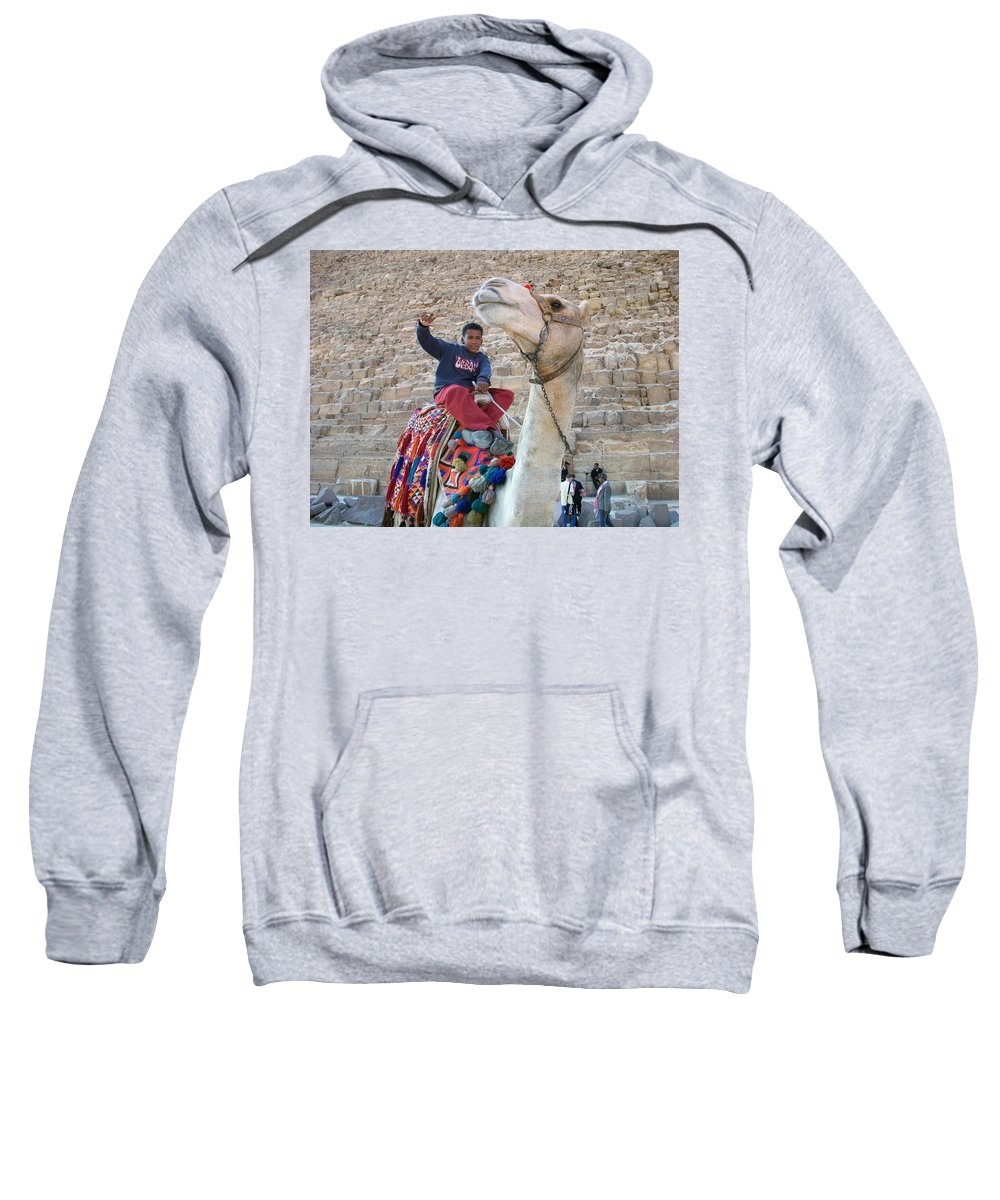 Egypt Sweatshirt featuring the photograph Egypt - Boy With A Camel by Munir Alawi