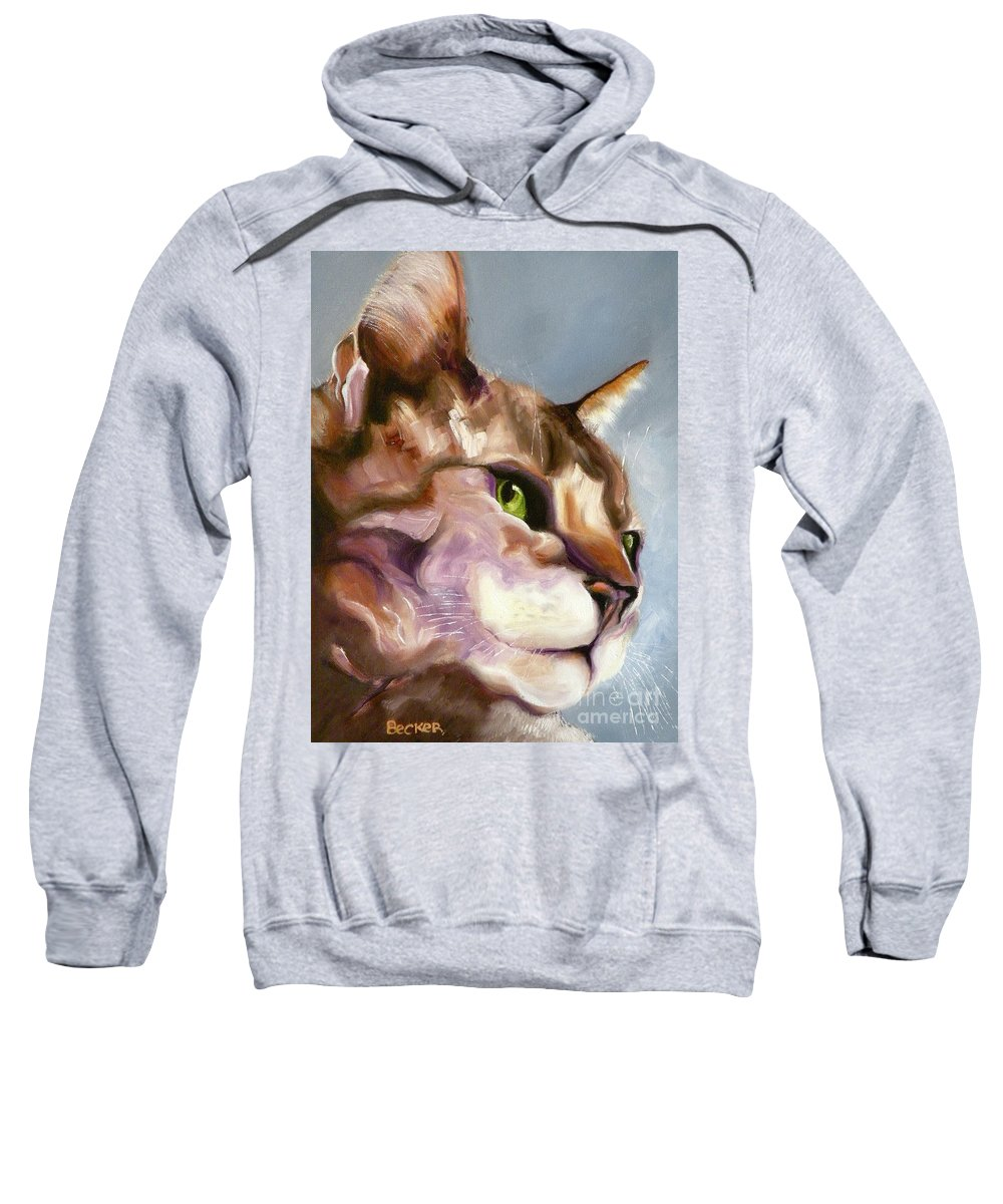 Cat Sweatshirt featuring the painting Egyptian Mau Princess by Susan A Becker