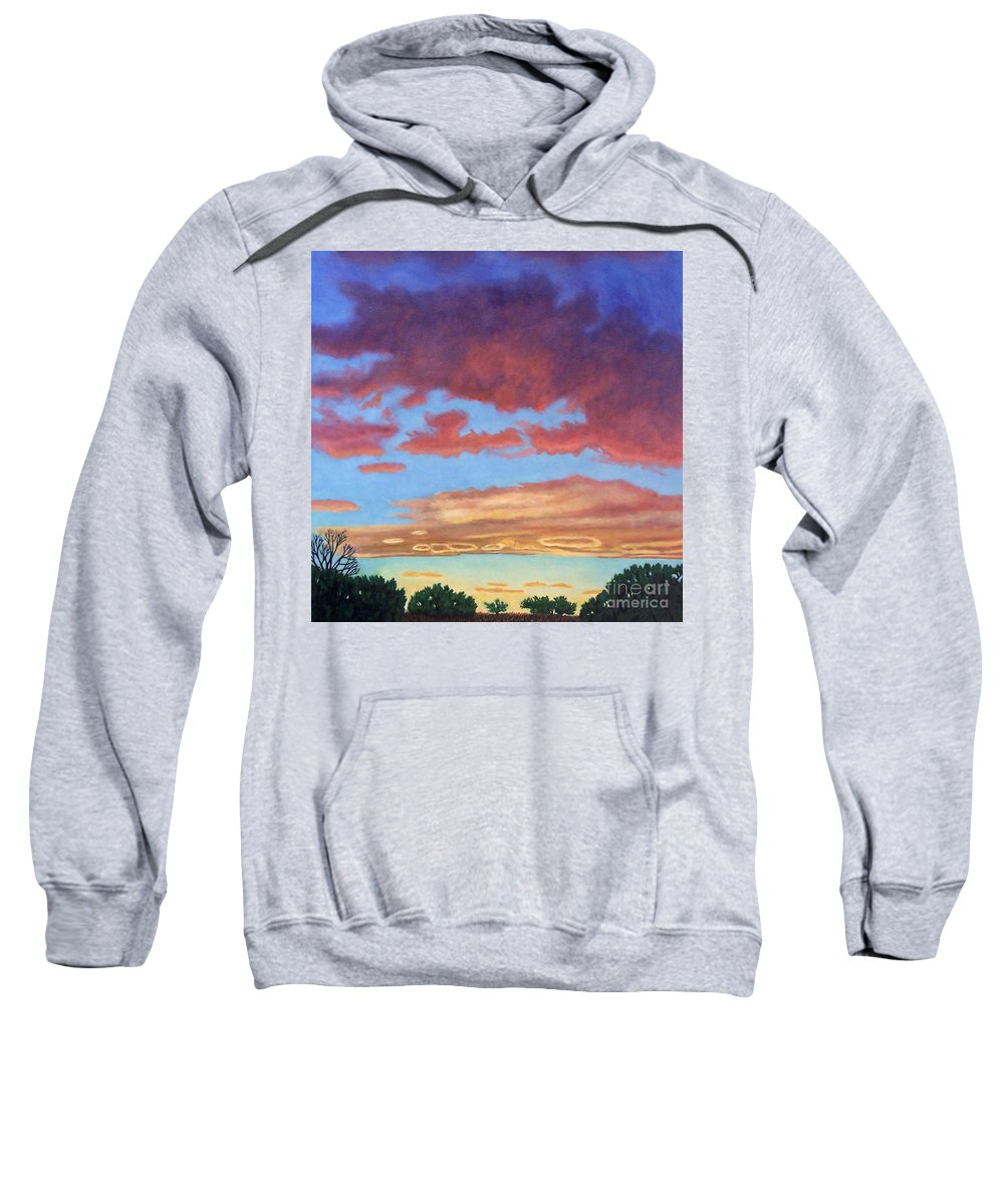 Sunset Sweatshirt featuring the painting El Dorado Sunset by Brian Commerford
