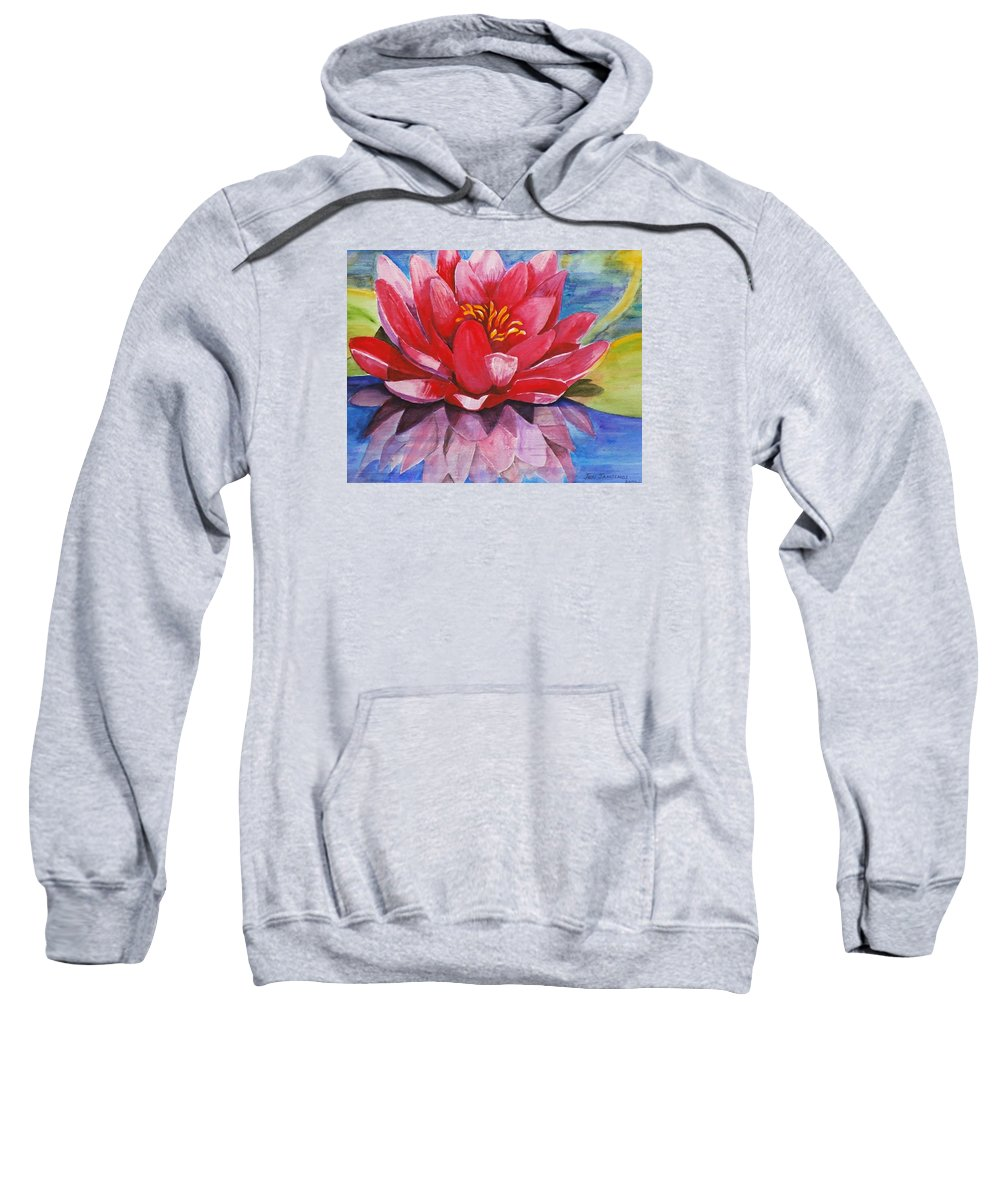 Lily Sweatshirt featuring the painting Ela Lily by Jun Jamosmos