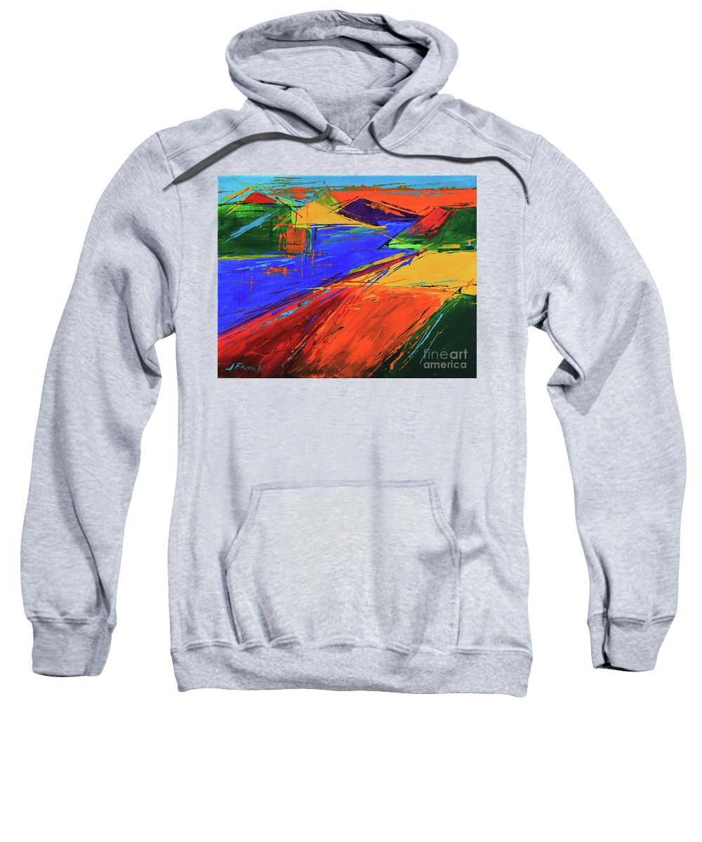 Art Sweatshirt featuring the painting Electric Color by Jeanette French