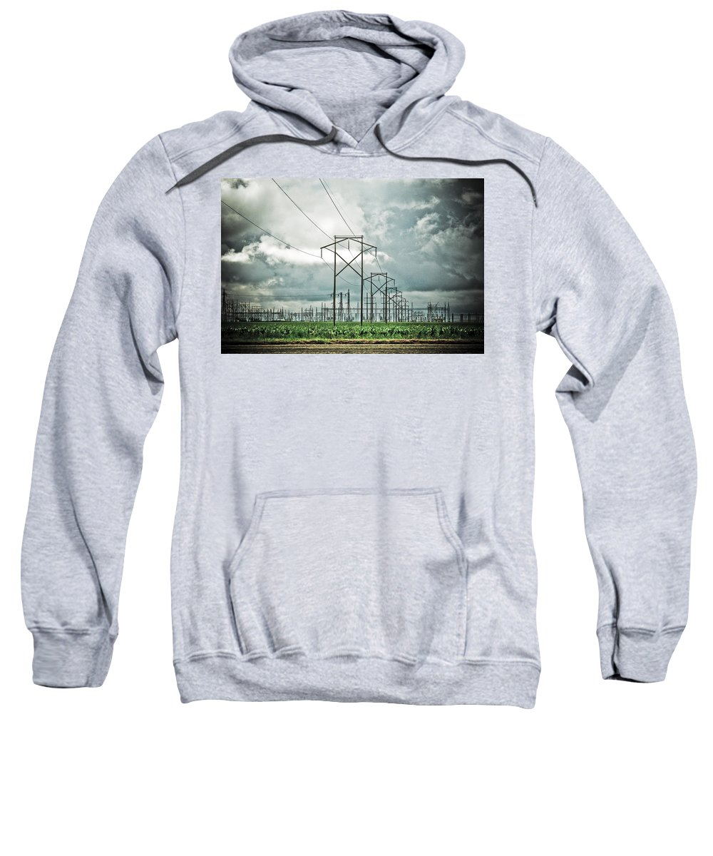 Electric Sweatshirt featuring the photograph Electric Lines And Weather by Marilyn Hunt
