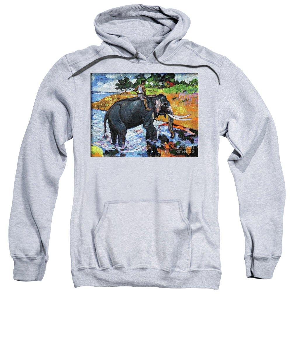 Elephant Sweatshirt featuring the painting Elephant And Man by Manjula Karunathilaka