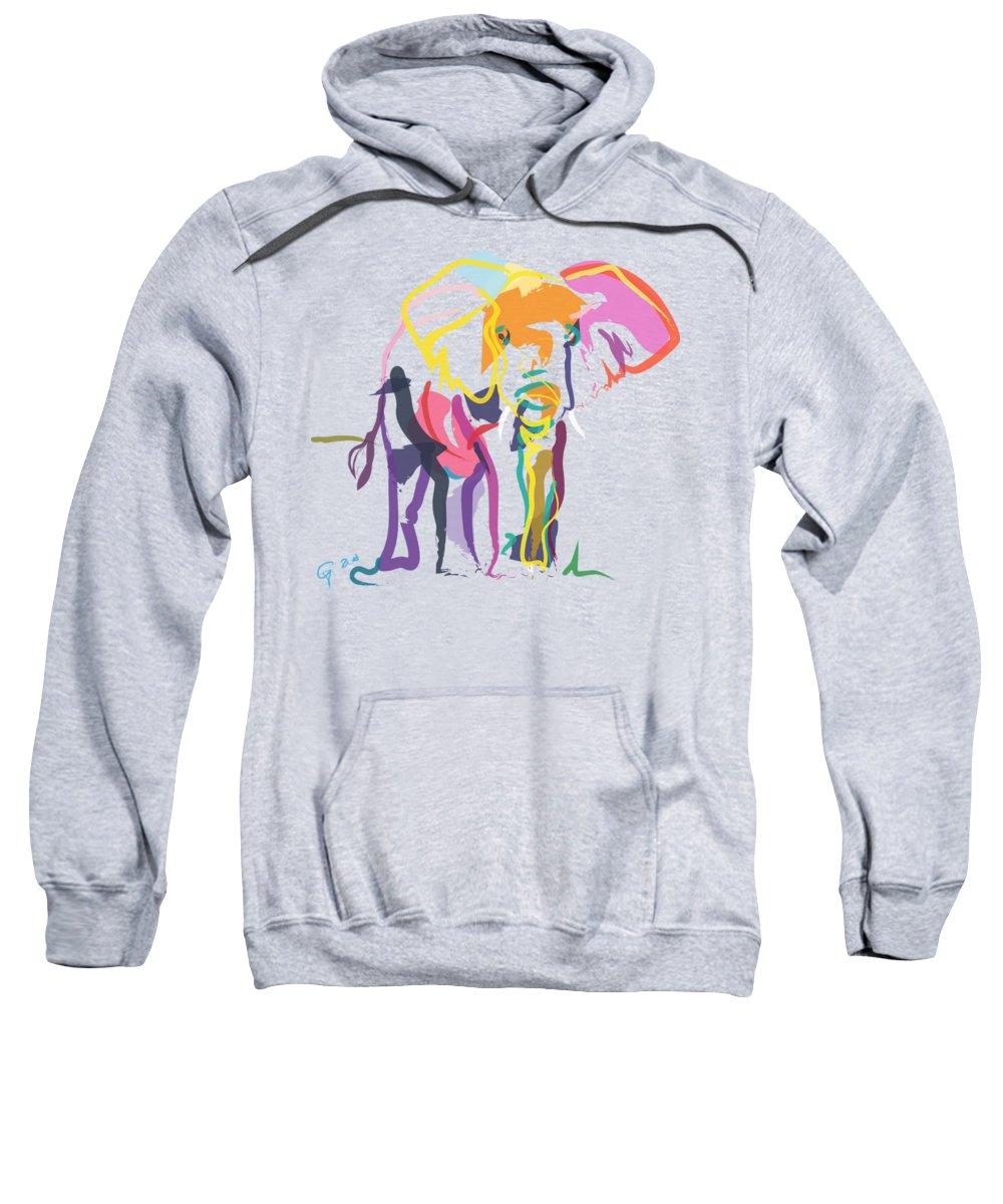 Elephant Sweatshirt featuring the painting Elephant In Color Ecru by Go Van Kampen