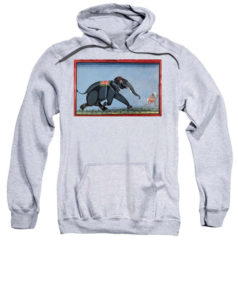 1750 Sweatshirt featuring the photograph Elephant & Trainer, C1750 by Granger