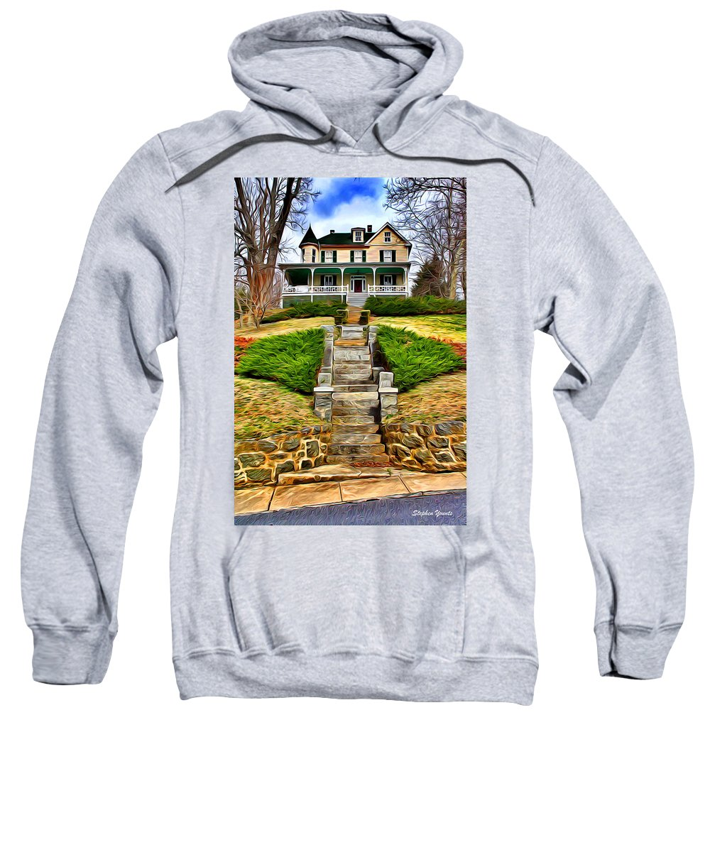 Ellicott Sweatshirt featuring the digital art Ellicott City House by Stephen Younts