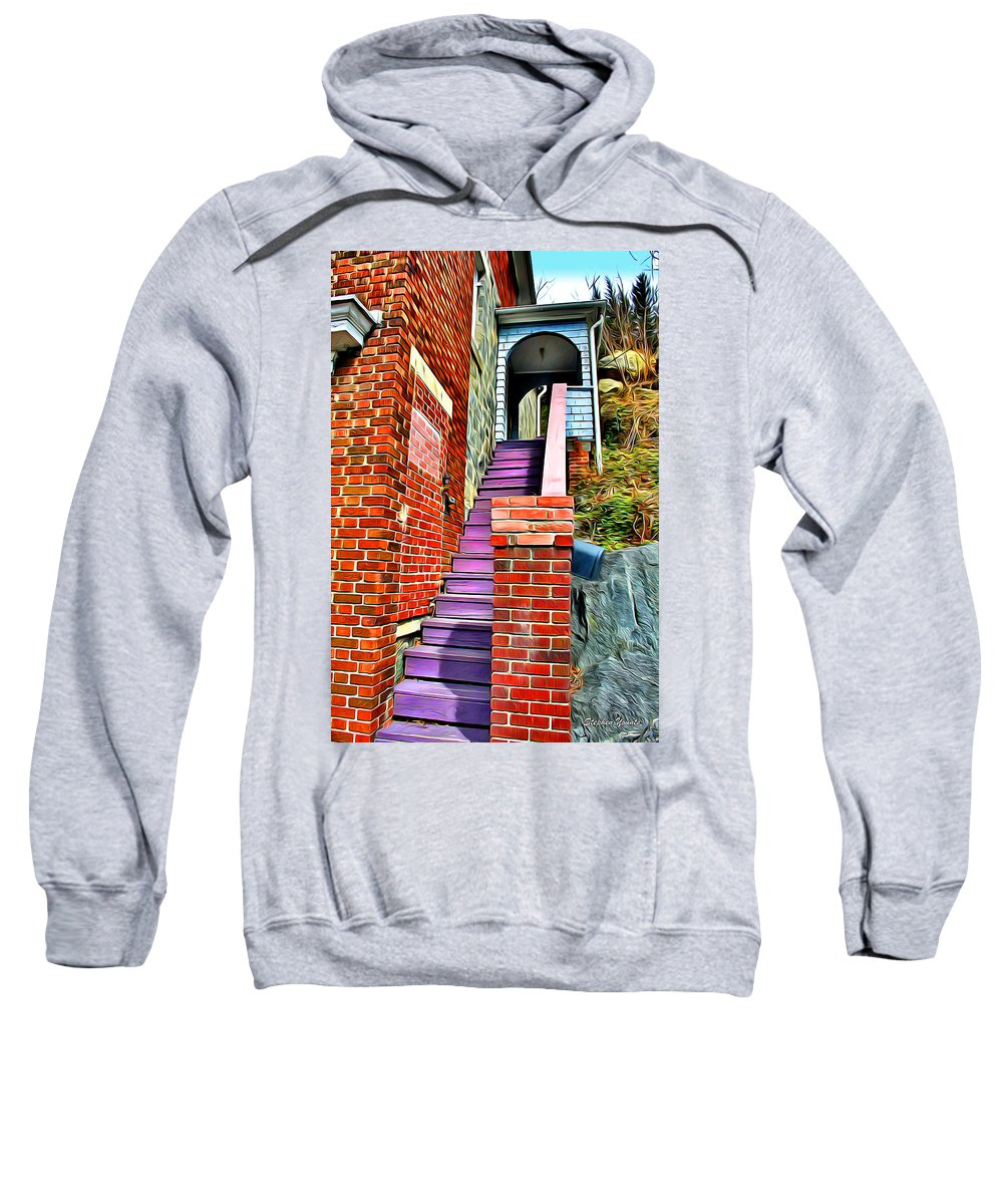 Ellicott Sweatshirt featuring the digital art Ellicott City Steps by Stephen Younts