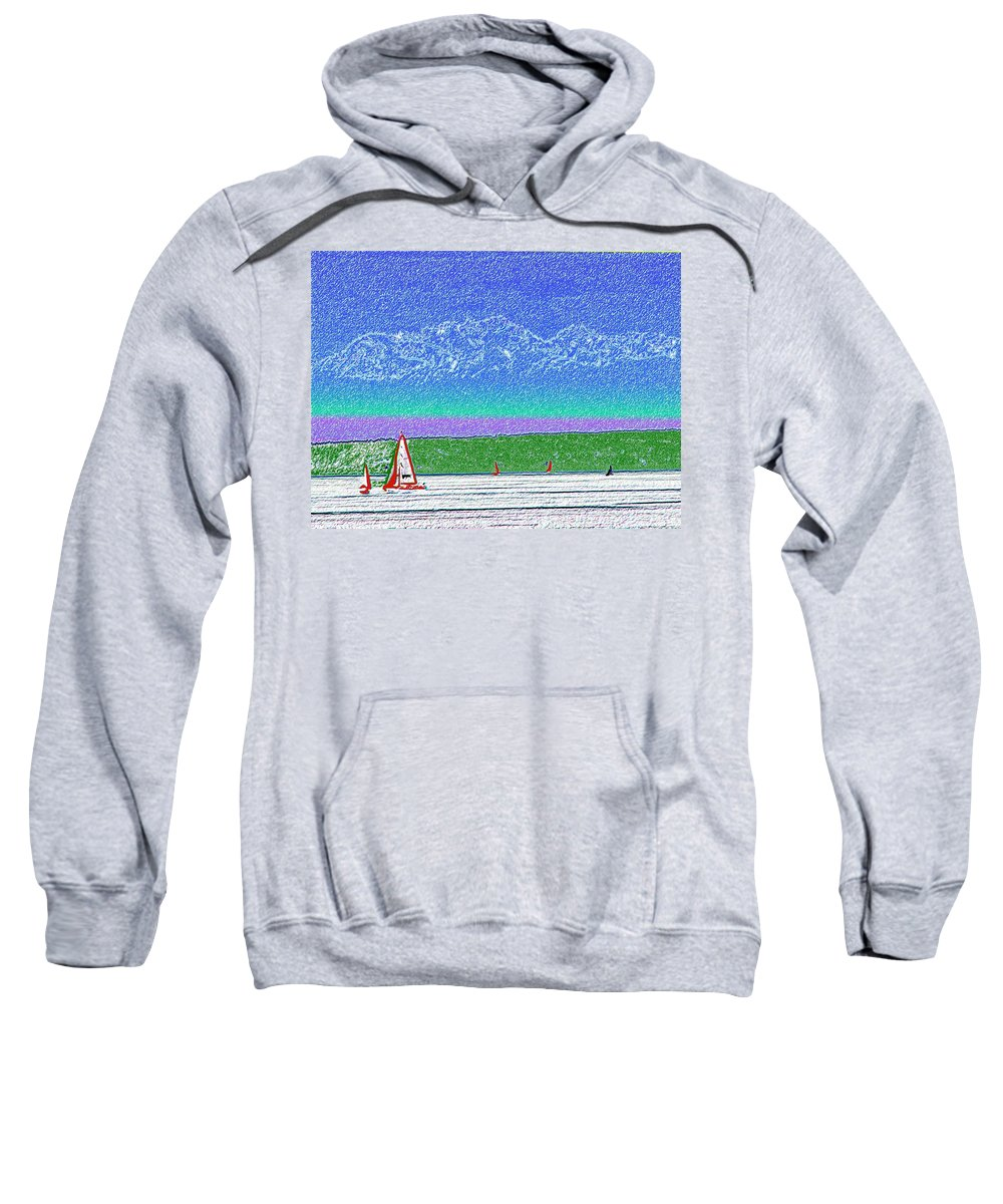 Seattle Sweatshirt featuring the digital art Elliott Bay Sail by Tim Allen