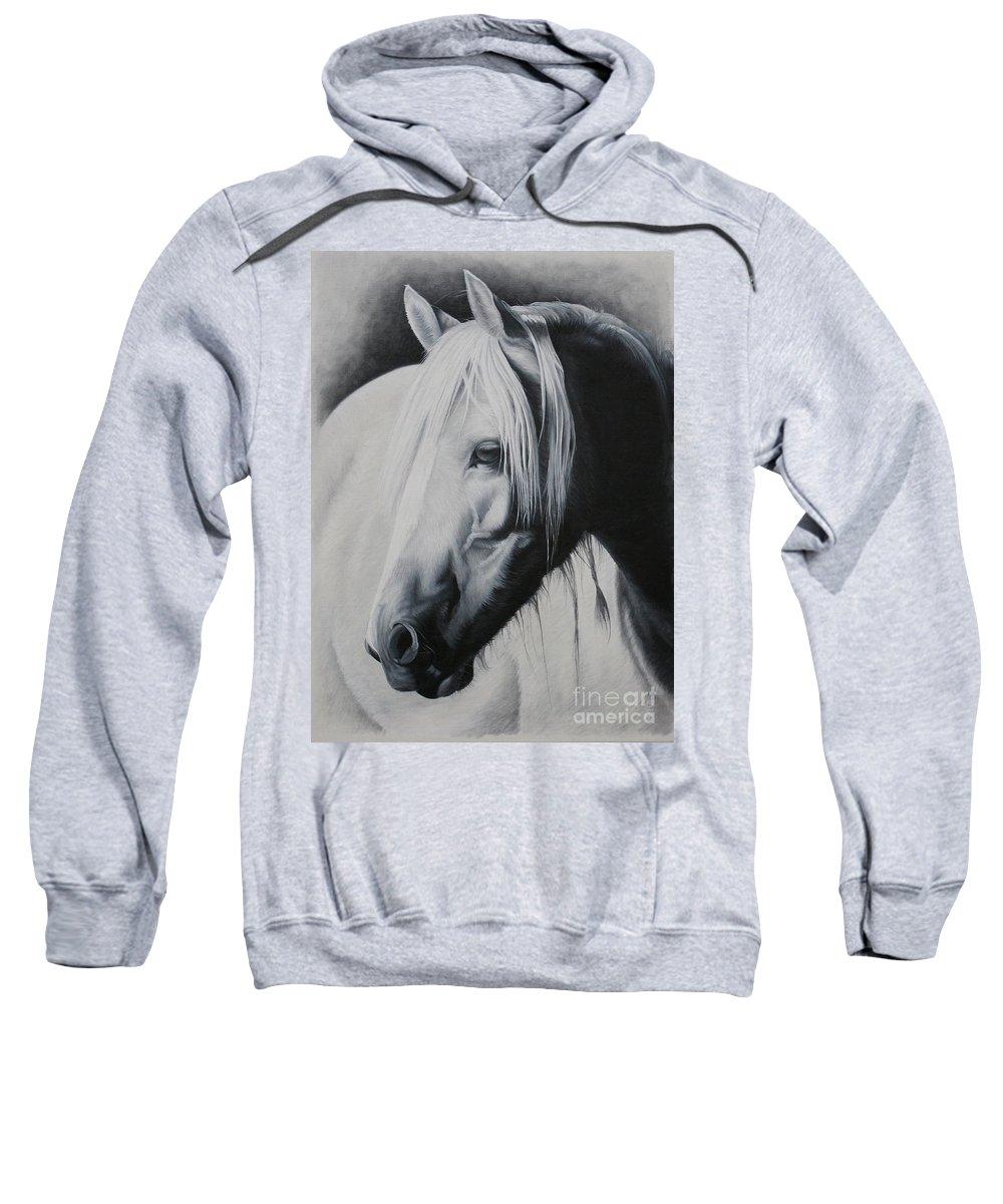 Portrait Sweatshirt featuring the painting Elsa-free Spirit by Pauline Sharp