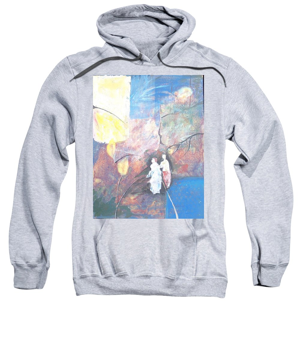 Collage Sweatshirt featuring the painting Emergence by Christine Lathrop