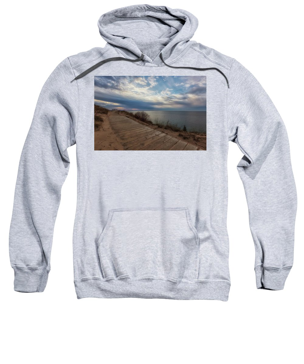 Empire Sweatshirt featuring the photograph Empire Bluffs 2 by Heather Kenward