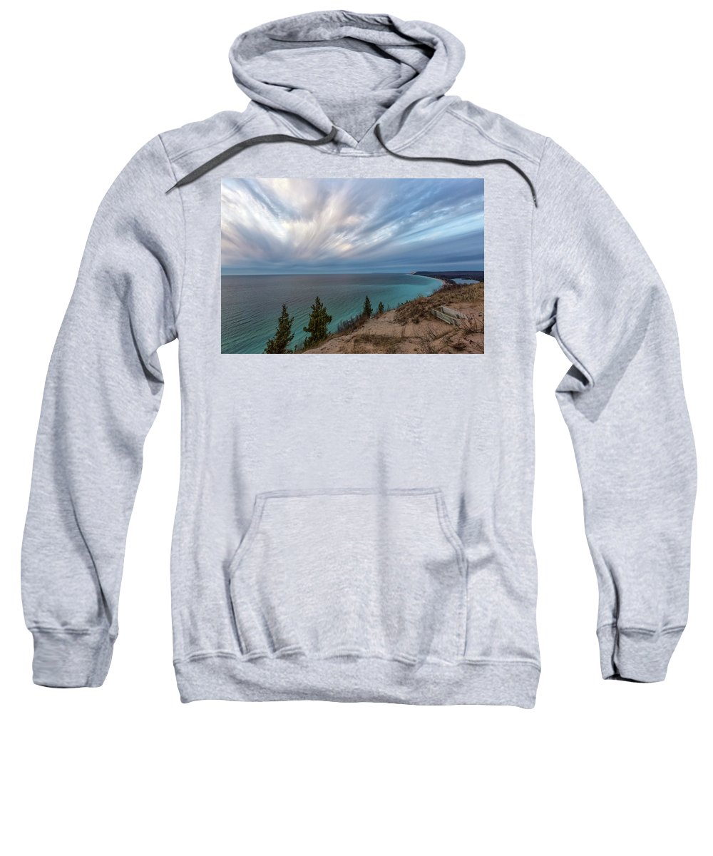 Empire Sweatshirt featuring the photograph Empire Bluffs 5 by Heather Kenward