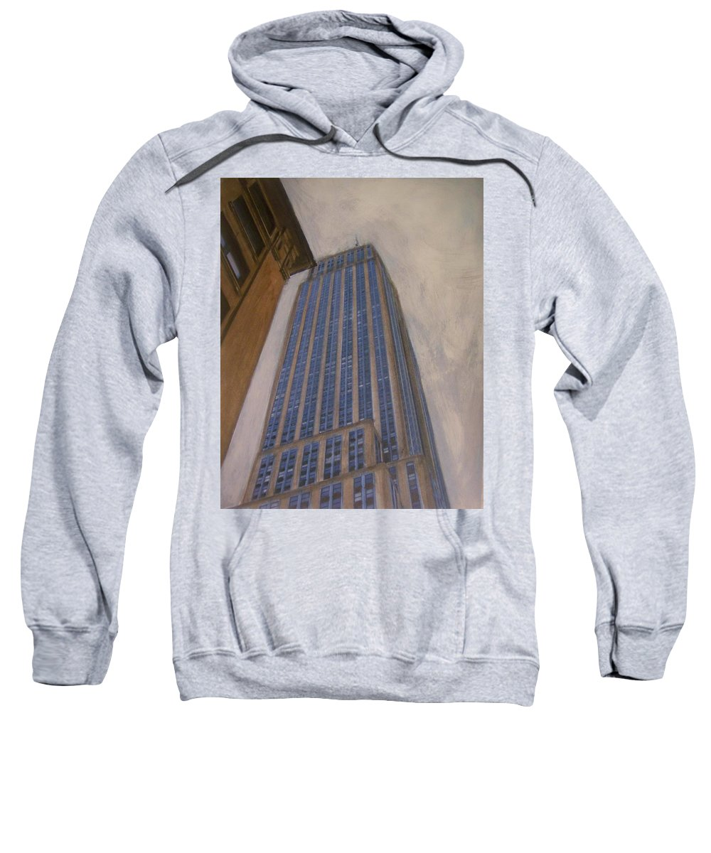 Empire State Building Sweatshirt featuring the mixed media Empire State Building 2 by Anita Burgermeister