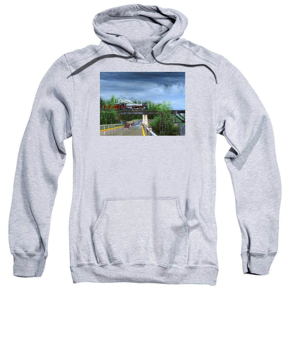 Bc 150 Train Sweatshirt featuring the painting Empress In Southern Bc by Glen Frear