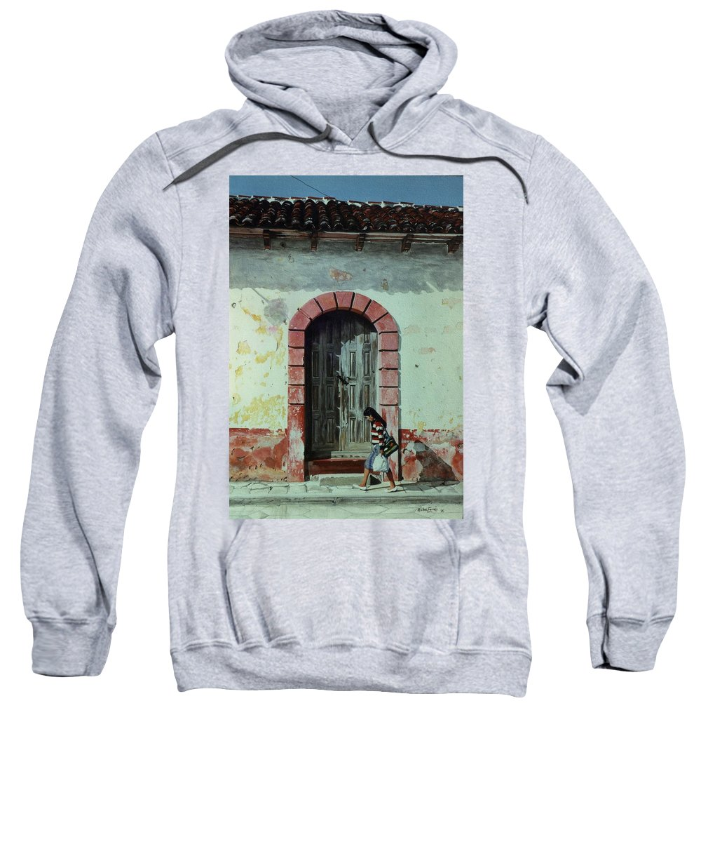 Hyperrealism Sweatshirt featuring the painting En Calle Ejercito Nacional by Michael Earney