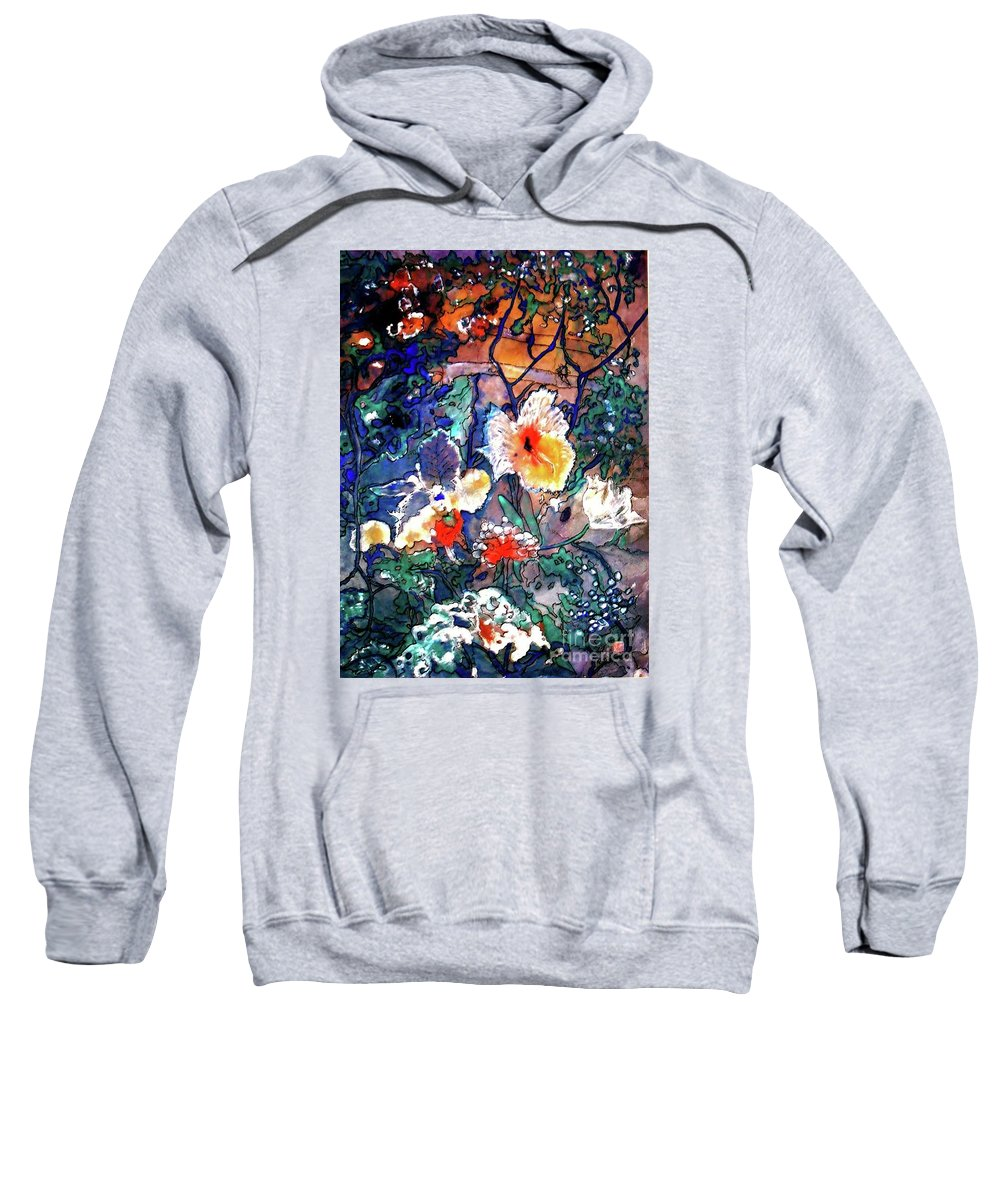 Landscape Sweatshirt featuring the painting Enchanted Garden by Norma Boeckler