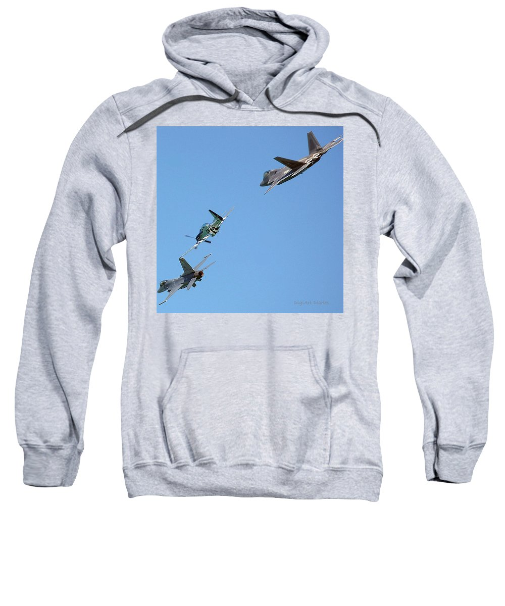 Jets Sweatshirt featuring the digital art Encore Fly-over by DigiArt Diaries by Vicky B Fuller