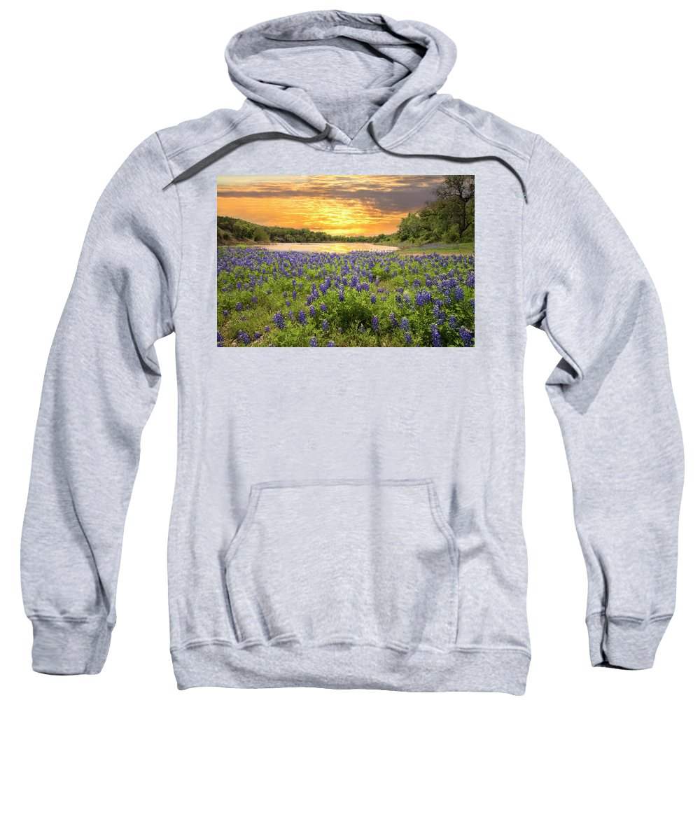 Sunset Sweatshirt featuring the photograph End Of A Bluebonnet Day by Lynn Bauer