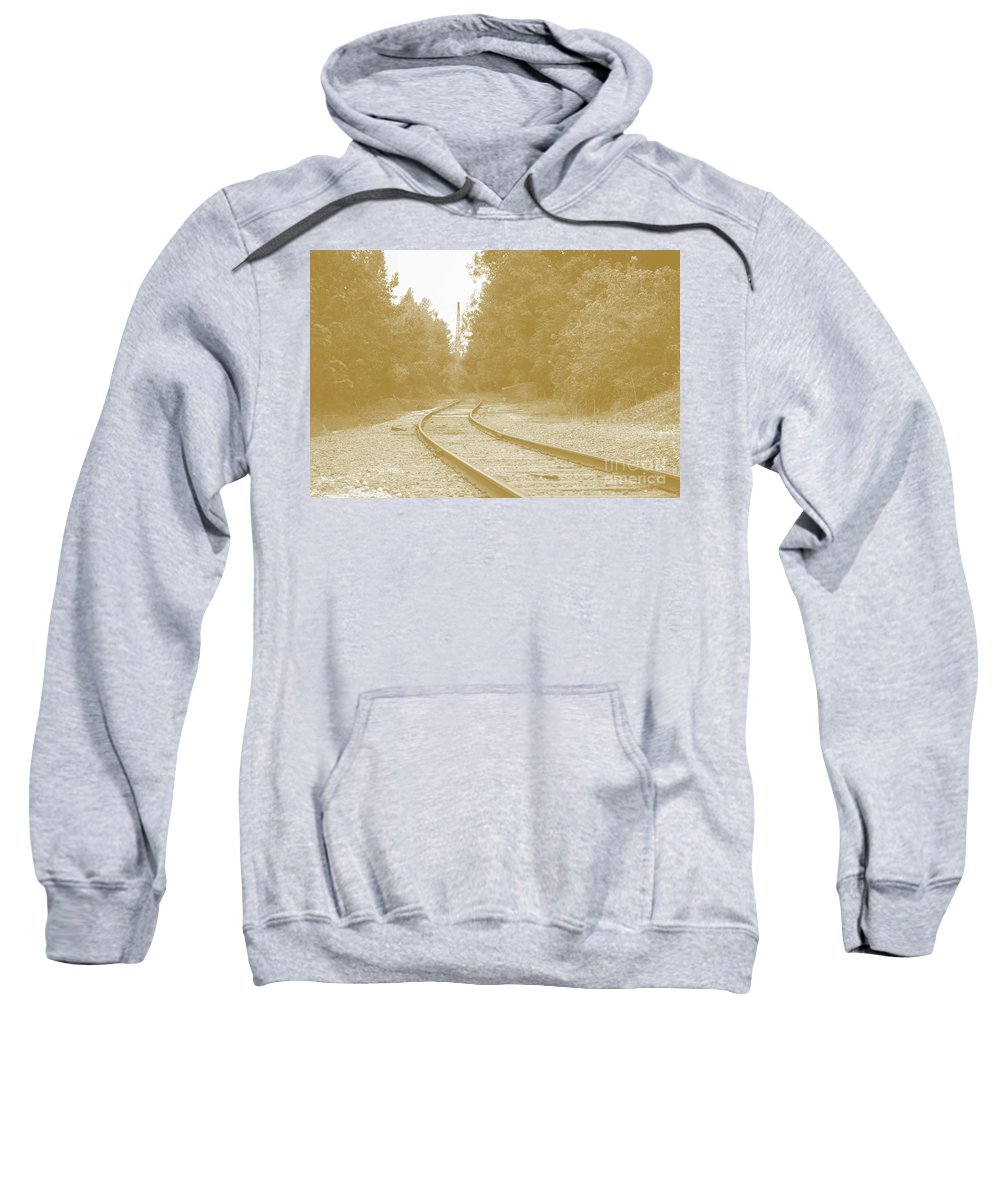 Rail Sweatshirt featuring the photograph End Of The Rail-sepia by Jost Houk