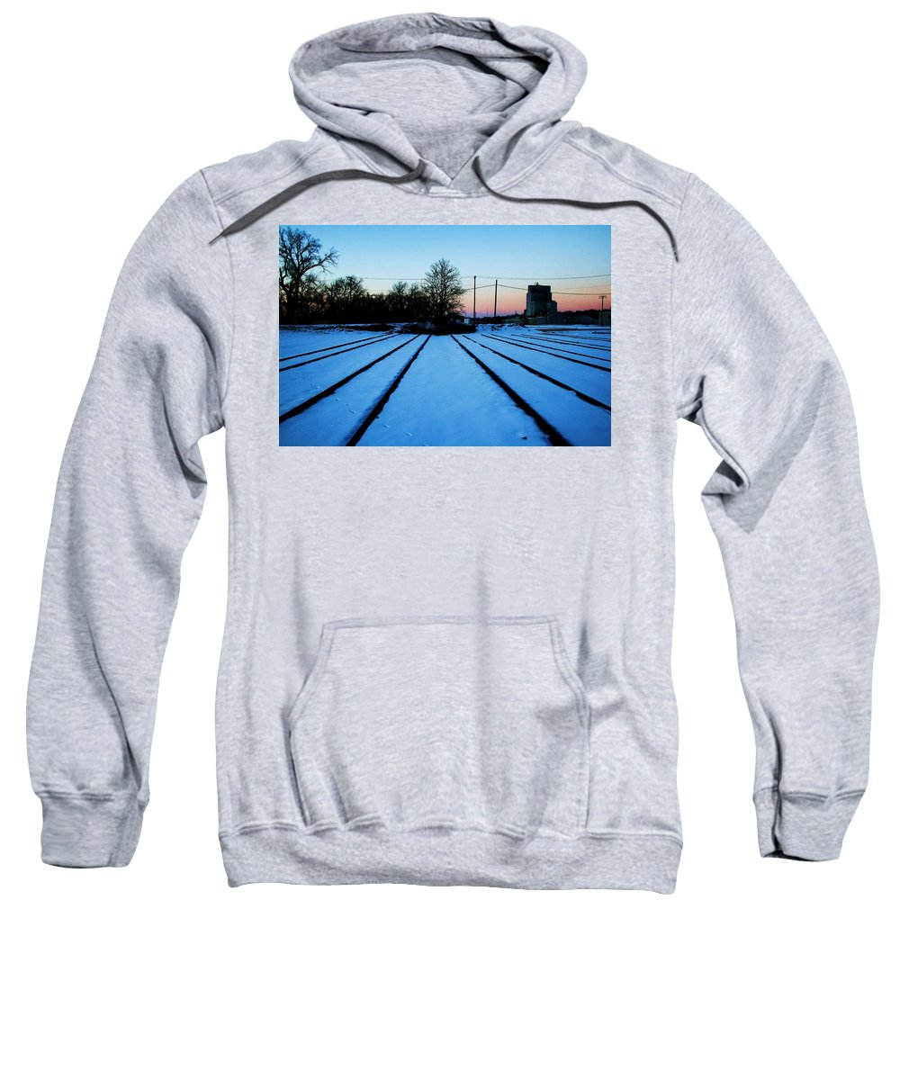 Sunset Sweatshirt featuring the photograph End Of The Tracks by Angus Hooper Iii