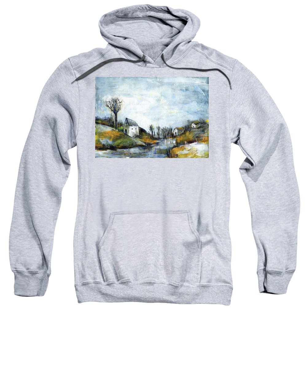Landscape Sweatshirt featuring the painting End of winter - acrylic landscape painting on cotton canvas by Aniko Hencz