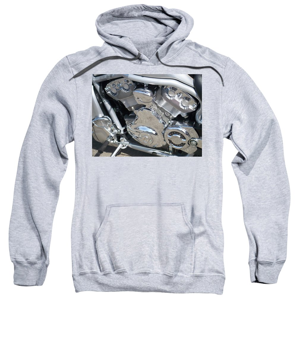 Motorcycle Sweatshirt featuring the photograph Engine Close-up 2 by Anita Burgermeister