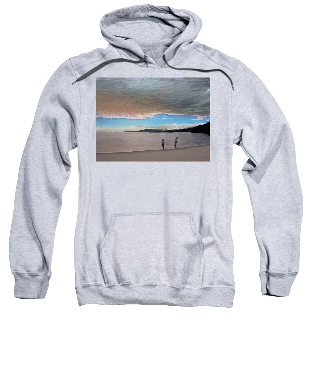 Landscapes Sweatshirt featuring the painting English Bay Vancouver by Kenneth M Kirsch