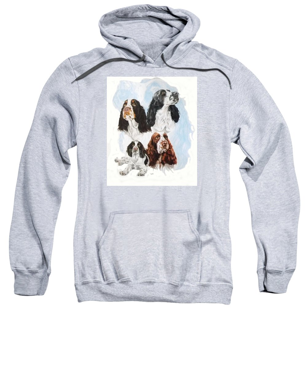Purebred Sweatshirt featuring the mixed media English Springer Spaniel W/ghost by Barbara Keith