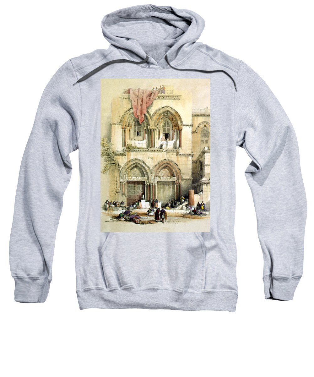 Church Of The Holy Sepulchre Sweatshirt featuring the digital art Entrance To Church Of The Holy Sepulchre Card by Munir Alawi
