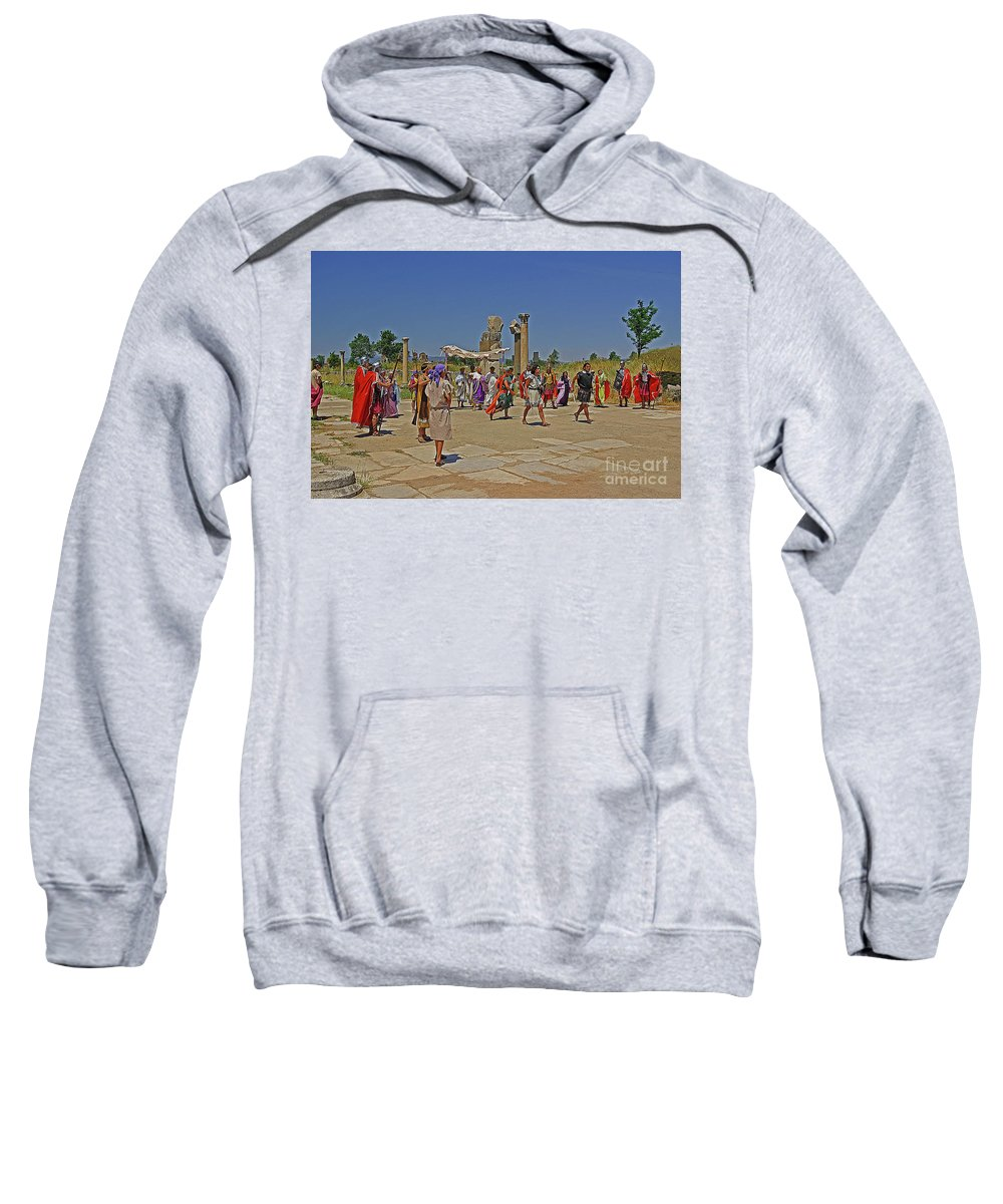 Turkey Sweatshirt featuring the photograph Ephesis Period Performers by Rich Walter