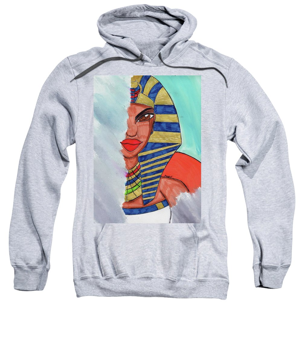 Queen Hatshepsut Sweatshirt featuring the mixed media Erase Me Not by Ronald Woods