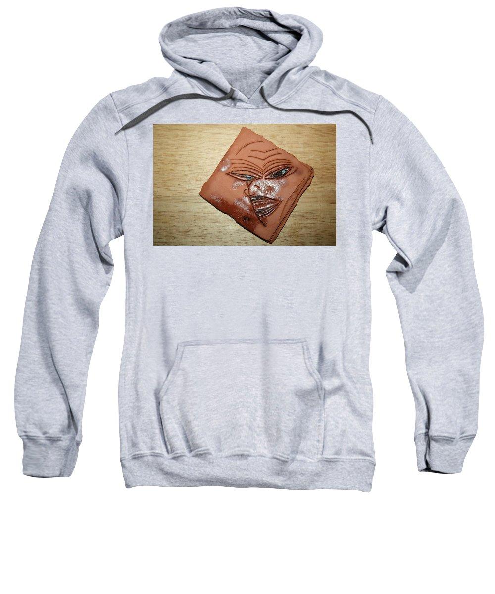 Jesus Sweatshirt featuring the ceramic art Erica- Tile by Gloria Ssali