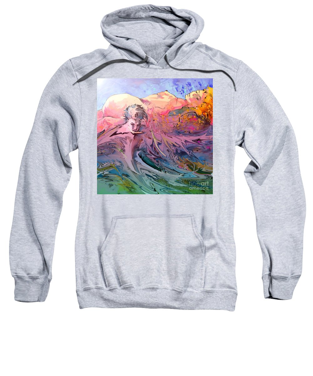 Miki Sweatshirt featuring the painting Eroscape 10 by Miki De Goodaboom