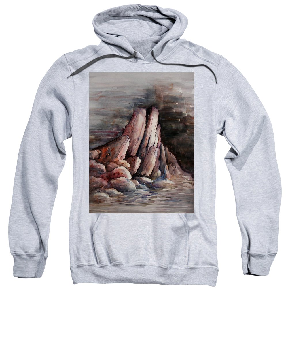 Landscape Sweatshirt featuring the painting Eruption by Rachel Christine Nowicki