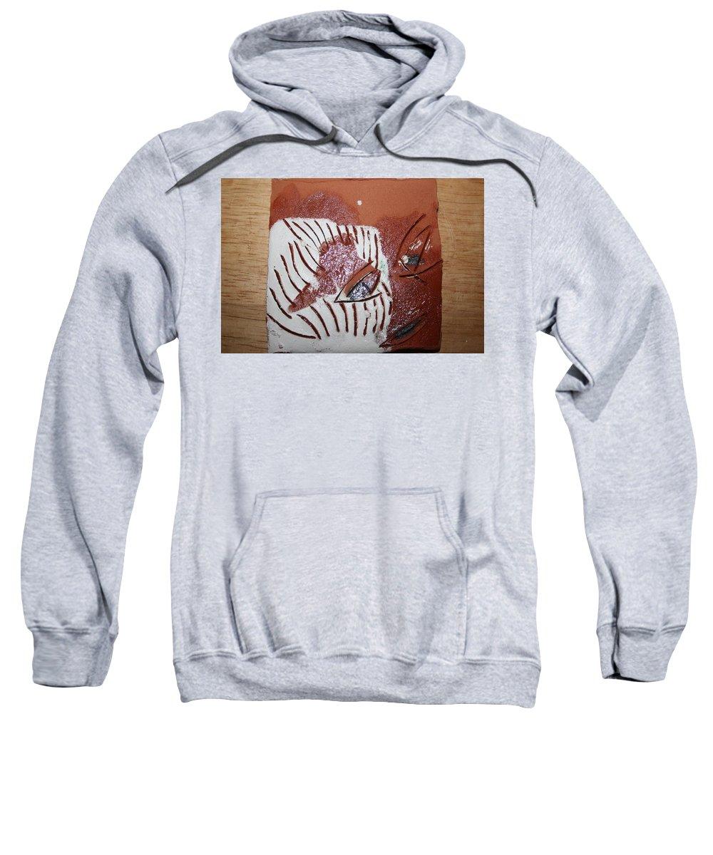 Jesus Sweatshirt featuring the ceramic art Estelle - Tile by Gloria Ssali