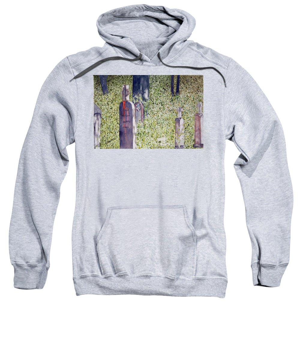 Cemeteries Sweatshirt featuring the painting Eternity In Hoonah by Larry Wright