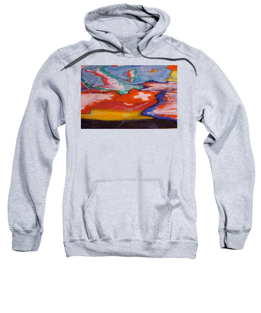 Maps Switzerland Sweatshirt featuring the painting Europa by Nila Poduschco