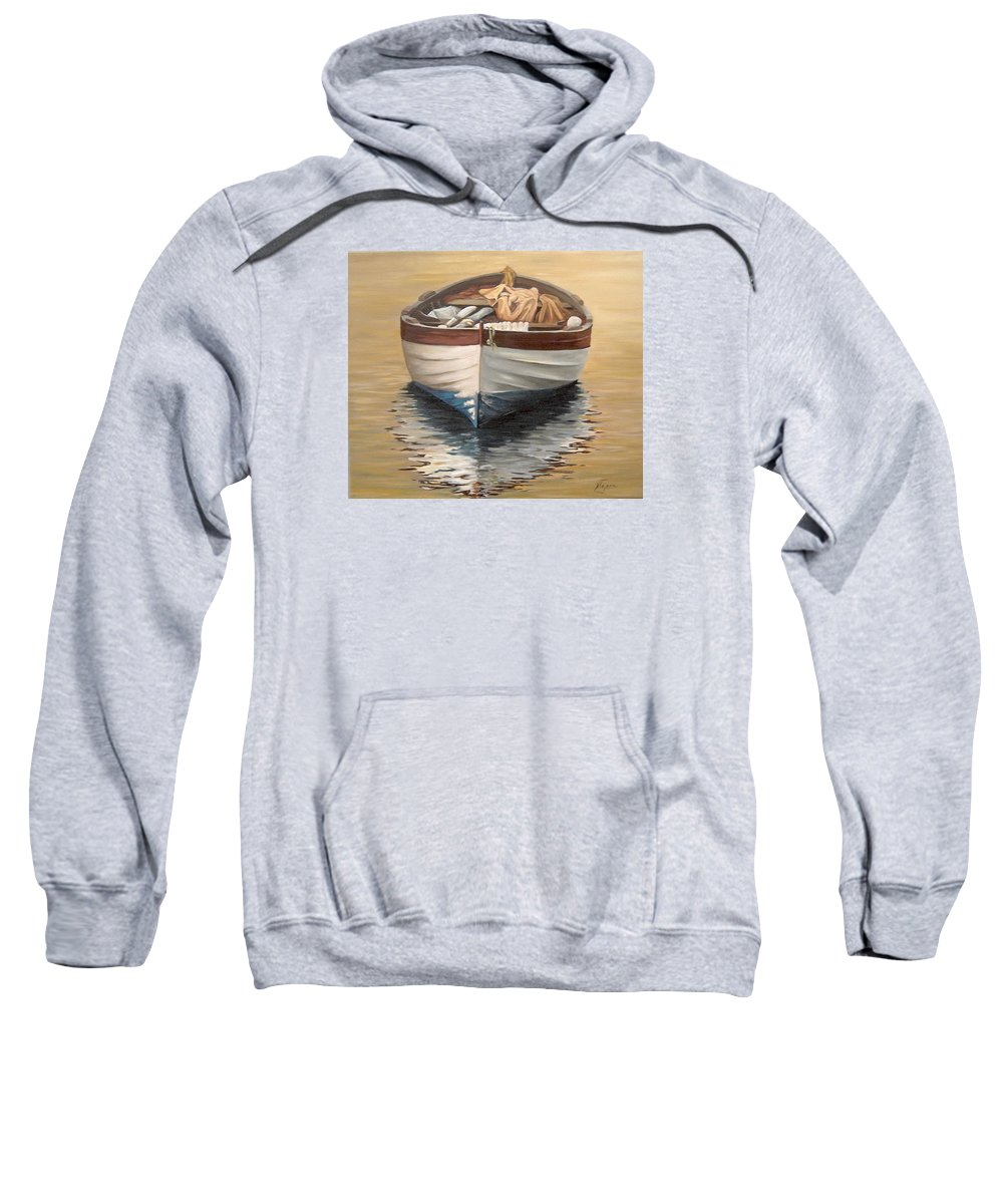 Boats Reflection Seascape Water Sweatshirt featuring the painting Evening Boat by Natalia Tejera