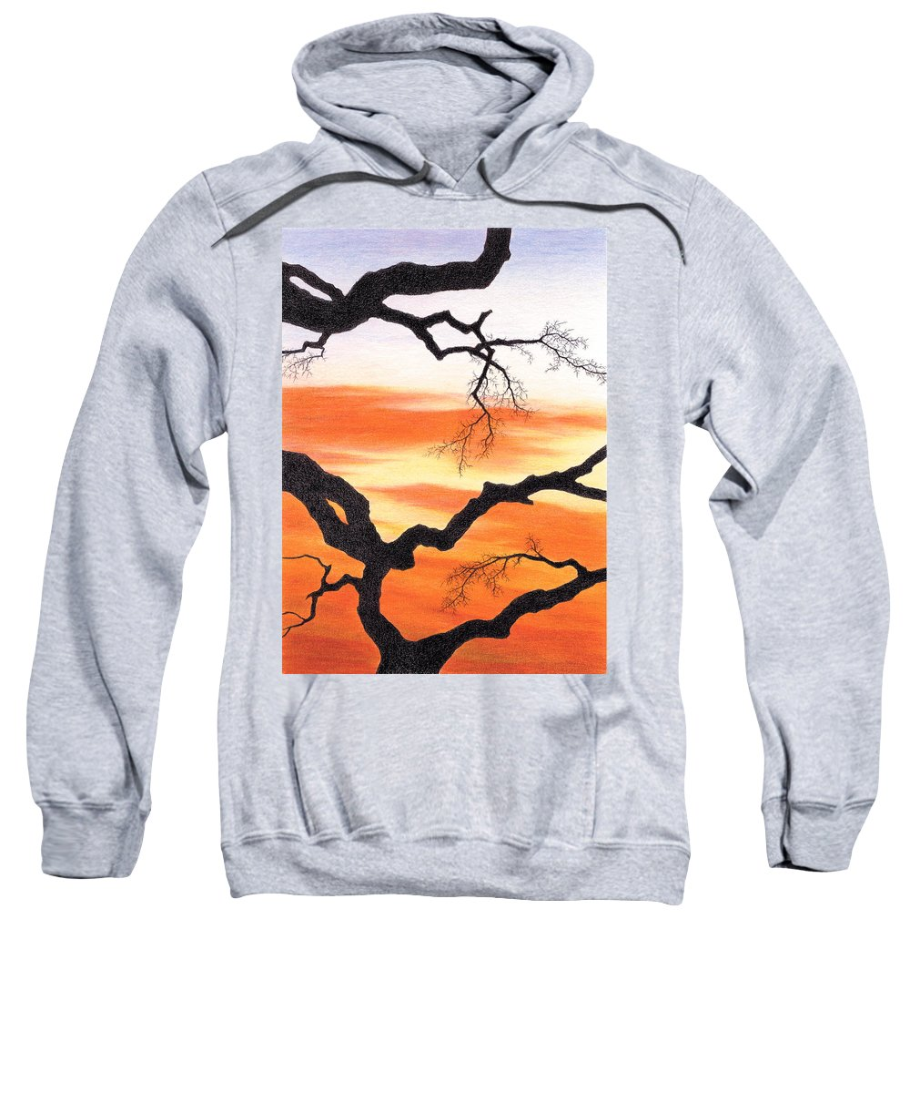 Sunset Sweatshirt featuring the drawing Evening Colors by Yelena Shabrova