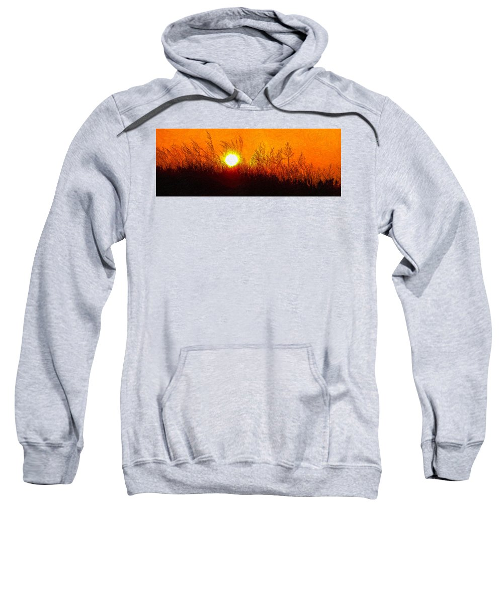 Landscape Sweatshirt featuring the photograph Evening Dunes Impasto by Steve Harrington
