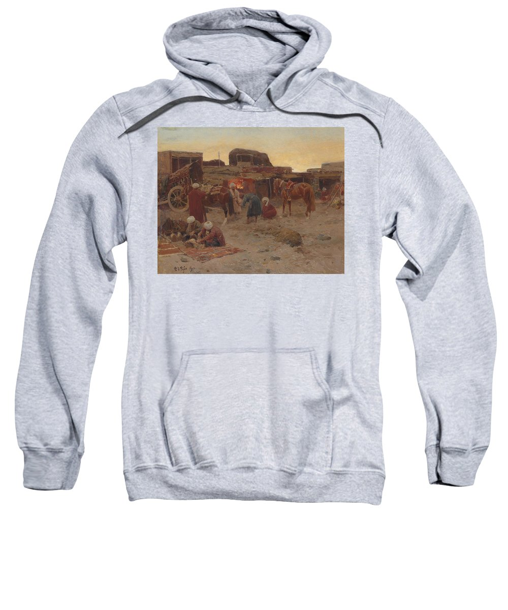 19th Century Art Sweatshirt featuring the painting Evening Falls At The Camp by Franz Roubaud