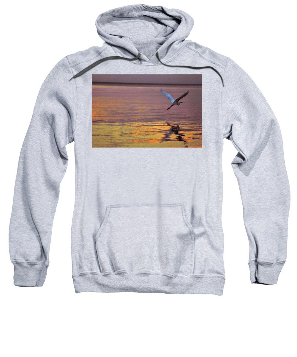 Heron Sweatshirt featuring the photograph Evening Flight by Susanne Van Hulst